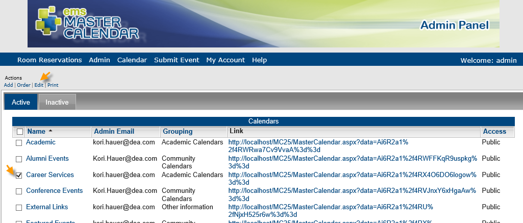 managing calendars in master calendar
