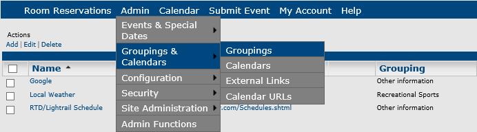 managing groupings in master calendar