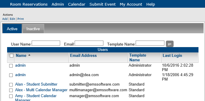Configure users in master calendar tip the inactive tab lists all inactive users in ems master calendar you might find the user on either tab use the print option to generate a report list maxwellsz