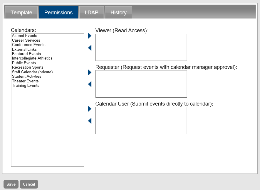 Managing user templates the viewer requester and calendar user fields indicate the type of access that a user with the selected template will have to the calendars in master maxwellsz