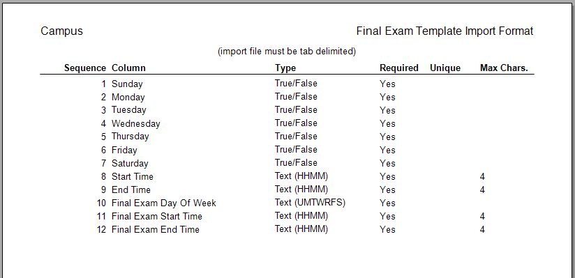 Import A File To Create Final Exam Schedule Template