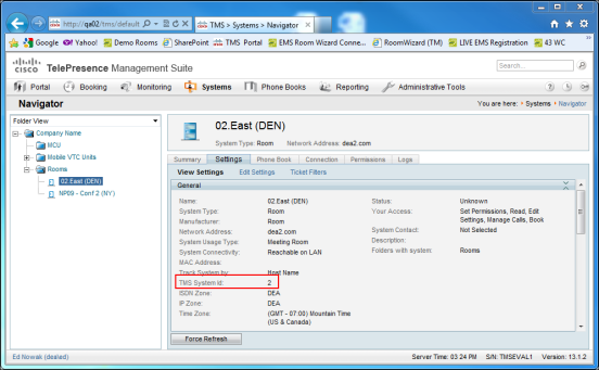 Configure the EMS - Cisco TMS Interface